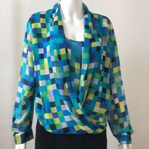 Silk Blouse in pixel designed print